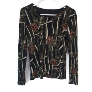 Long Sleeve Rose Pattern Shirt